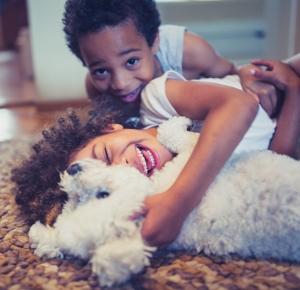 Kids w/dog