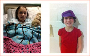 Photo (left): Earlier this year, Anna had surgery for a rare brain disorder. Photo (right): Now she is back home, seizure free -- healing and growing.